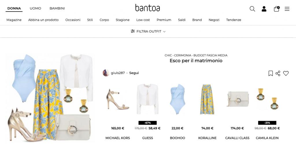 Bantoa sito esempio outfit