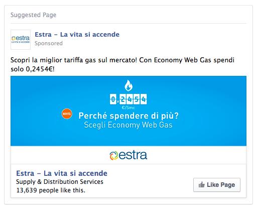 Annuncio sponsorizzato su Facebook per Estra SPA